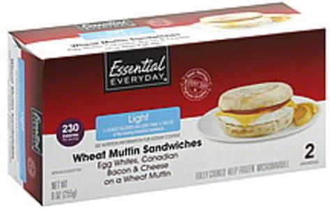 Essential Everyday Wheat Muffin Sandwiches Light, Egg Whites, Canadian Bacon & Cheese