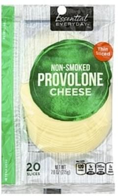 Essential Everyday Cheese Provolone, Non-Smoked, Thin Sliced