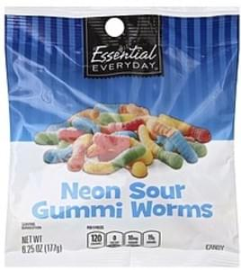 Essential Everyday Candy Gummi Worms, Neon Sour