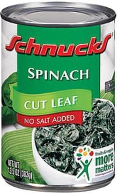Schnucks Spinach Cut Leaf No Salt Added