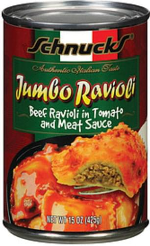 Schnucks Beef Ravioli In Tomato & Meat Sauce Ravioli Jumbo - 15 oz
