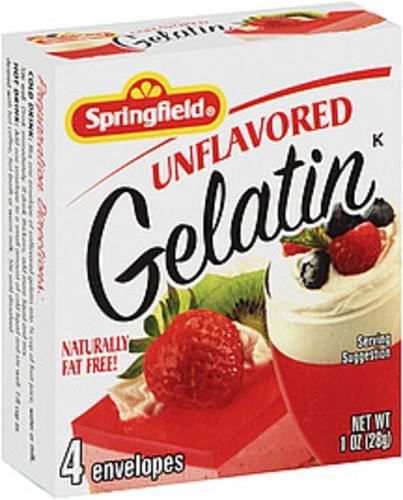Springfield Unflavored 4 Envelopes Gelatin - 1 oz