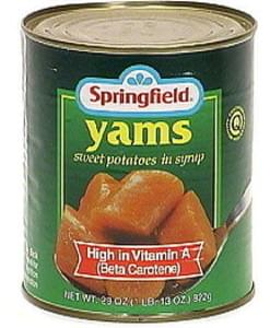Springfield Yams (Sweet Potatoes) In Syrup