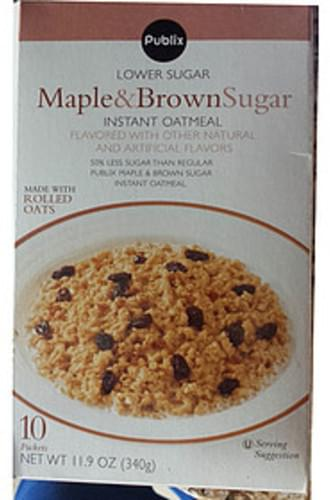 Publix Maple & Brown Sugar Instant Oatmeal - 34 g