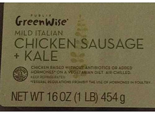 Publix GreenWise Market Mild Italian Chicken Sausage + Kale - 70 g