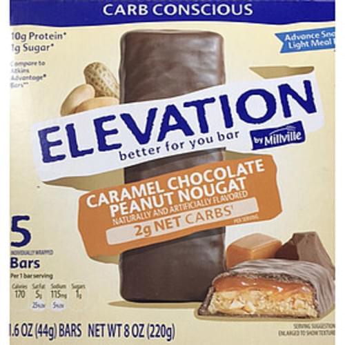 Elevation Caramel Chocolate Peanut Nougat Bar - 44 g