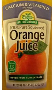 Nature's Nectar Orange Juice Never from Concentrate