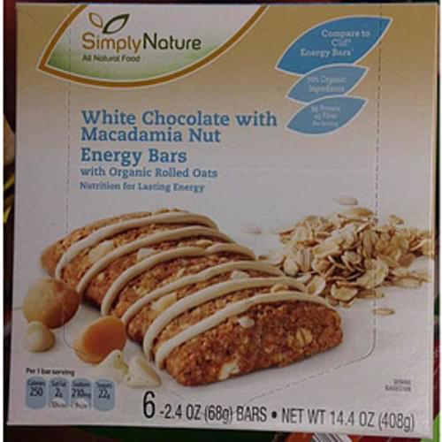 SimplyNature White Chocolate with Macadamia Nut Energy Bars - 68 g