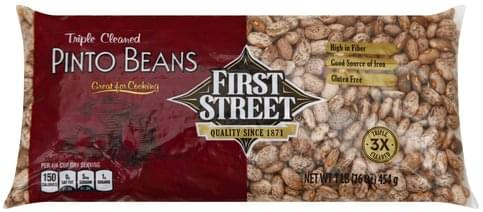 First Street Triple Cleaned Pinto Beans - 1 lb