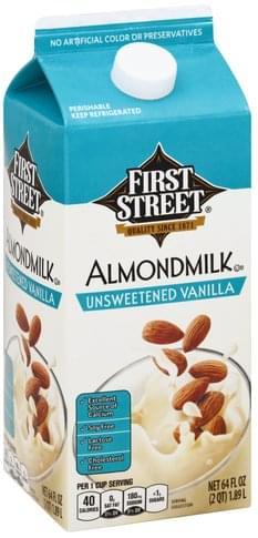 First Street Unsweetened Vanilla Almondmilk - 64 oz