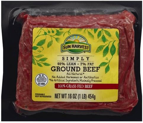 Sun Harvest Ground, 93/7, 100% Grass Fed Beef - 16 oz