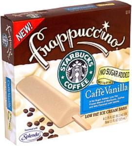Starbucks Ice Cream Bars Low Fat, No Sugar Added, Caffe Vanilla