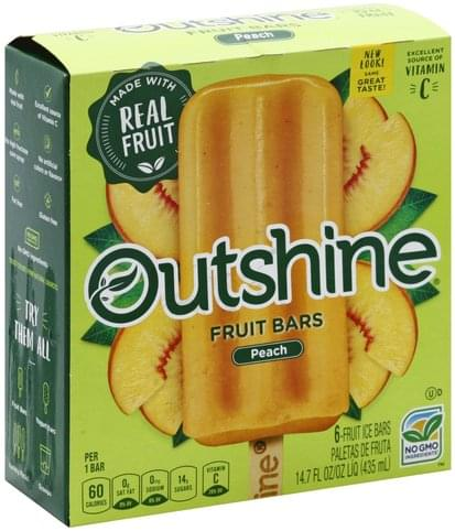 Outshine Peach Fruit Bars - 6 ea