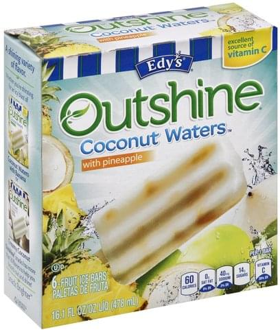 Edys Coconut Waters with Pineapple Fruit Ice Bars - 6 ea