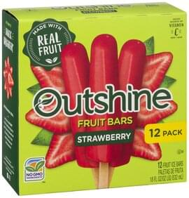 Outshine Fruit Ice Bars Strawberry, 12 Pack