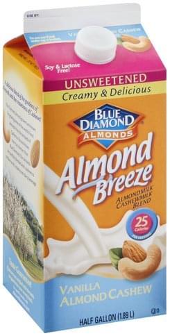 Blue Diamond Unsweetened, Vanilla Almond Cashew Almondmilk Cashewmilk Blend - 0.5 gl