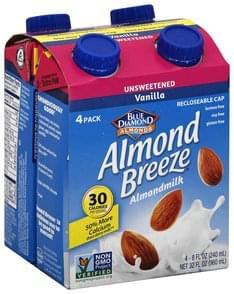 Blue Diamond Almondmilk Unsweetened, Vanilla, 4 Pack