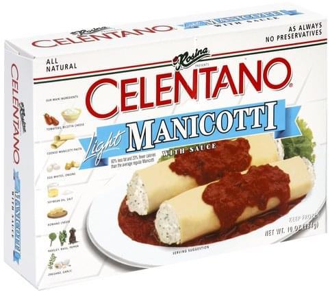 Celentano Light Manicotti with Sauce Manicotti - 10 oz