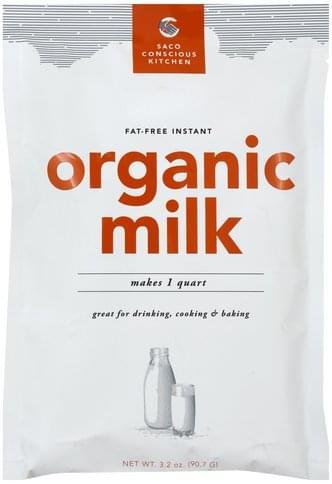 Saco Instant, Organic, Fat Free Milk - 3.2 oz