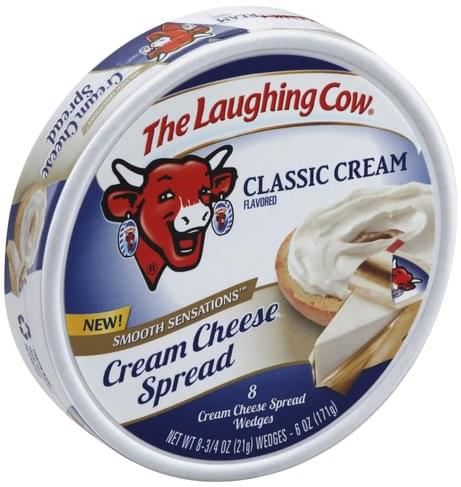 The Laughing Cow Wedges, Classic Cream Flavored Cream Cheese Spread - 8 ea