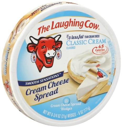 The Laughing Cow Classic Cream Flavored, Wedges Cream Cheese Spread - 8 ea