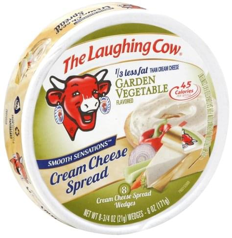The Laughing Cow Garden Vegetable Flavored, Wedges Cream Cheese Spread - 8 ea