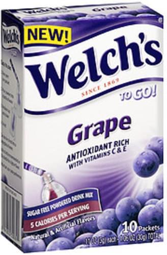 Welch's To Go! Grape Sugar Free Powdered Drink Mix - 30 g