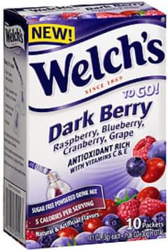 Welch's To Go! Sugar Free Powdered Drink Mix Dark Berry