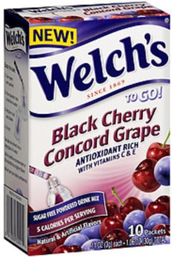 Welch's To Go! Black Cherry Concord Grape Sugar Free Powdered Drink Mix - 30 g