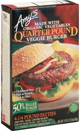 Amys Soy Veggie, Quarter Pound Veggie Burger - 4 ea