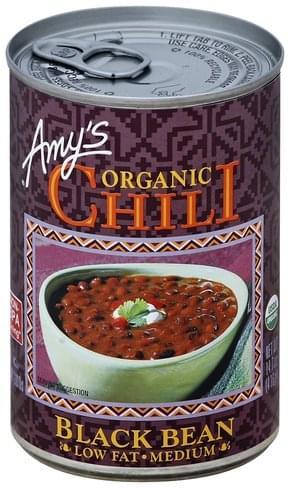 Amys Low Fat, Black Bean, Medium Chili - 14.7 oz