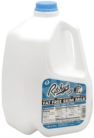 Ritcheys Fat Free, Skim Milk - 1 gl