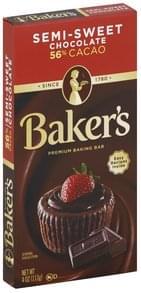 Bakers Baking Bar Premium, Semi-Sweet Chocolate, 56% Cacao