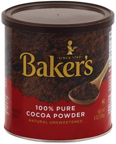Bakers 100% Pure, Natural Unsweetened Cocoa Powder - 8 oz