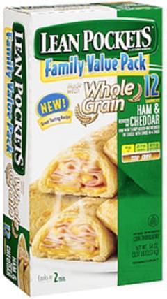 Lean Pockets Stuffed Sandwiches Whole Grain Crust Ham & Cheese