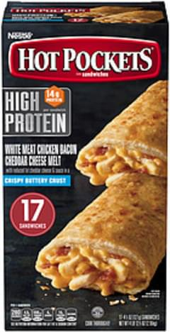 Hot Pockets Hot Pockets High Protein White Meat Chicken Bacon Cheddar Frozen Sandwiches High Protein White Meat Chicken Bacon Cheddar Cheese Melt
