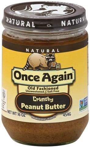 Once Again Unsweetened & Salt Free, Crunchy Peanut Butter - 16 oz