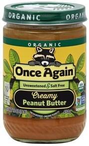Once Again Peanut Butter Creamy, Unsweetened & Salt Free, Organic