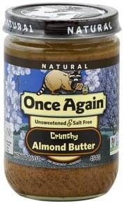 Once Again Almond Butter Unsweetened & Salt Free, Crunchy