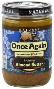 Once Again Almond Butter Unsweetened & Salt Free, Creamy