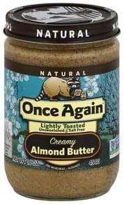 Once Again Almond Butter Creamy, Lightly Toasted, Unsweetened & Salt Free