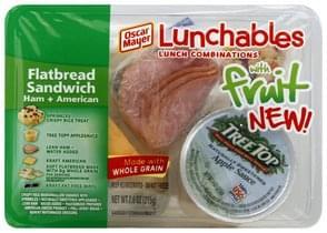 Lunchables Flatbread Sandwich Ham + American, With Fruit
