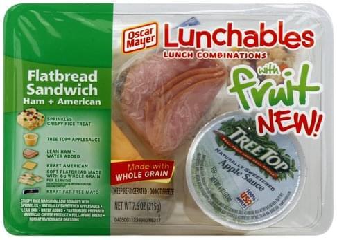 Lunchables Ham + American, With Fruit Flatbread Sandwich - 7.6 oz