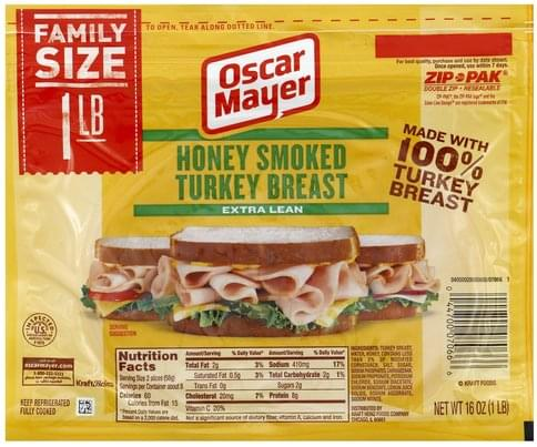 Oscar Mayer Extra Lean, Honey Smoked, Family Size Turkey Breast - 16