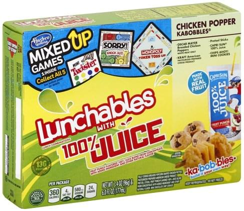 Lunchables with 100% Juice, Chicken Popper Kabobbles, Fun Pack Lunch Combinations - 1 ea