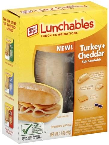 Lunchables Sub Sandwich, Turkey + Cheddar Lunch Combinations - 3.3 oz