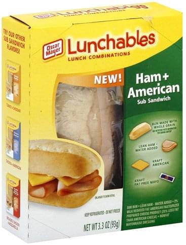 Lunchables Sub Sandwich, Ham + American Lunch Combinations - 3.3 oz