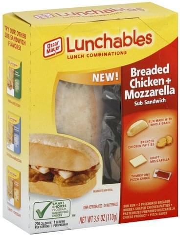 Lunchables Sub Sandwich, Breaded Chicken + Mozzarella Lunch Combinations - 3.9 oz