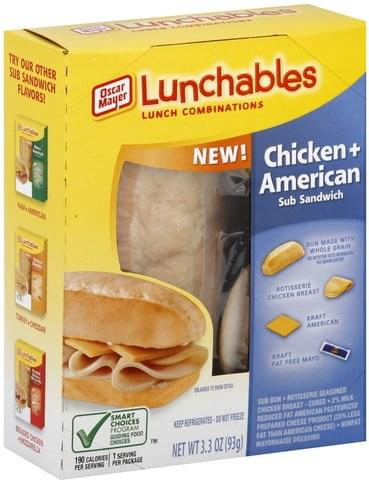 Lunchables Sub Sandwich, Chicken + American Lunch Combinations - 3.3 oz