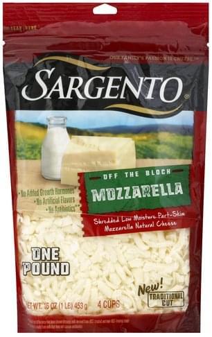 Sargento Mozzarella, Low Moisture, Part